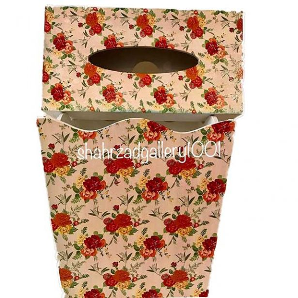 سطل و جا دستمال کاغذی طرح گل
