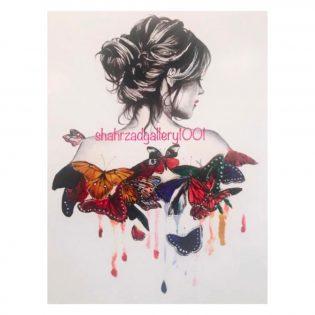 تابلو تیناب دختر پروانه ای گالری شهرزاد