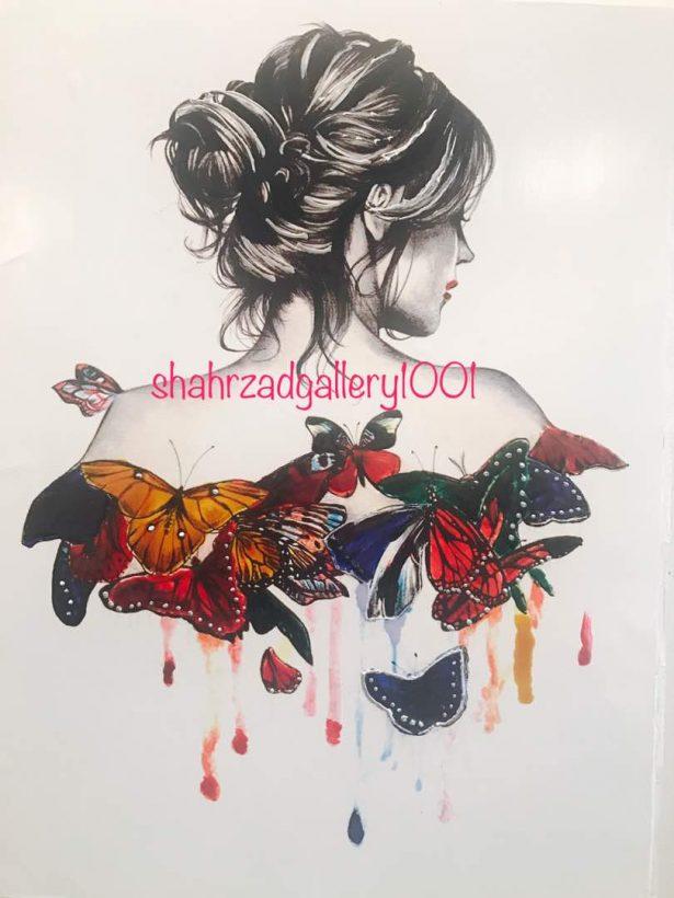 تابلو تیناب دختر پروانه ای گالری شهرزاد ShahrzadGallery1001