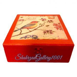 جعبه چوبی دکوپاژ پرنده