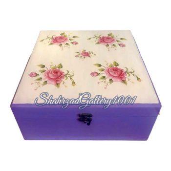 جعبه چوبی دکوپاژ گل