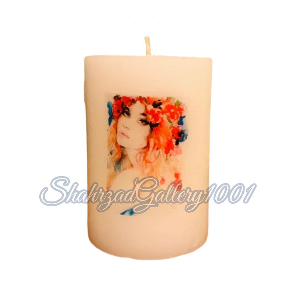 شمع تزئینی استوانه ای دکوپاژ گالری شهرزاد اسدی